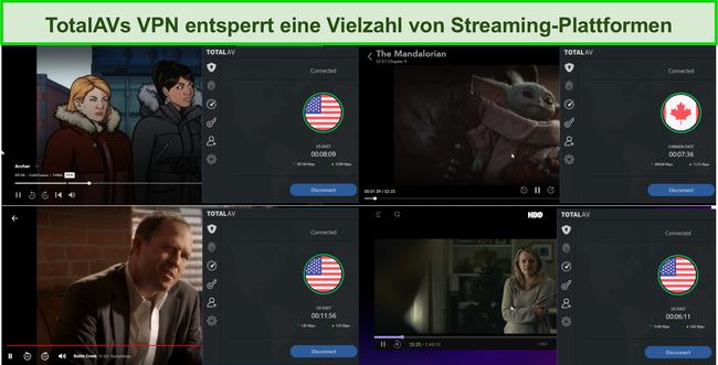 Screenshot von Total AV VPN, das Hulu, Disney +, Netflix und HBO Max entsperrt.