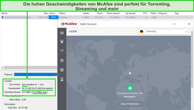 Screenshot von McAfee VPN, das beim Herunterladen einer 35-GB-Torrent-Datei mit einem deutschen Server verbunden ist.