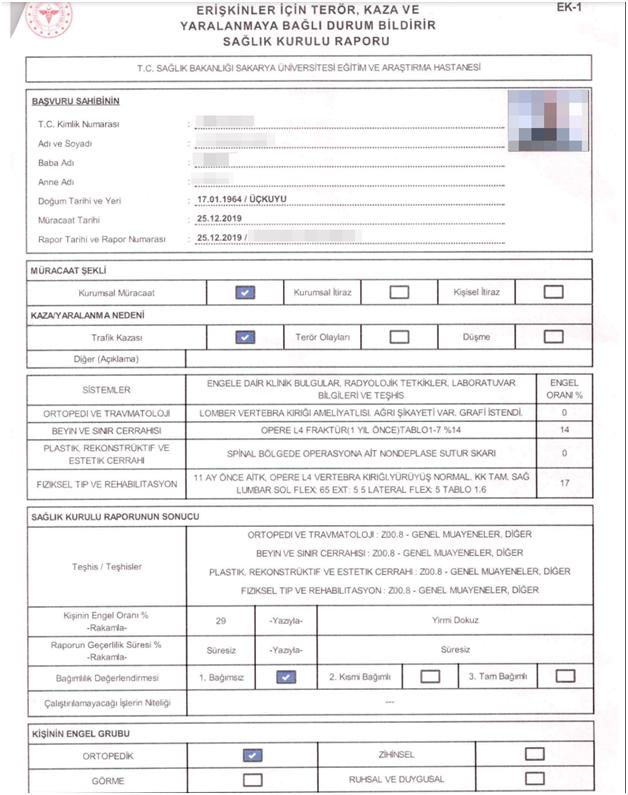 Screenshot of post-trauma health document report