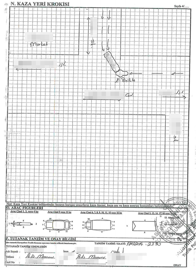 Screenshot of police report sketch of the accident