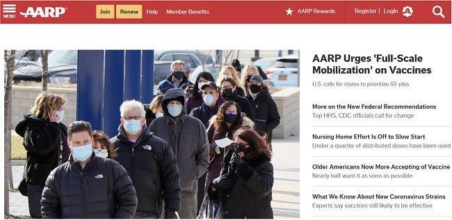 Скриншот главной страницы AARP