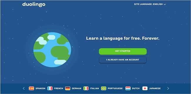 Скриншот домашней страницы Duolingo