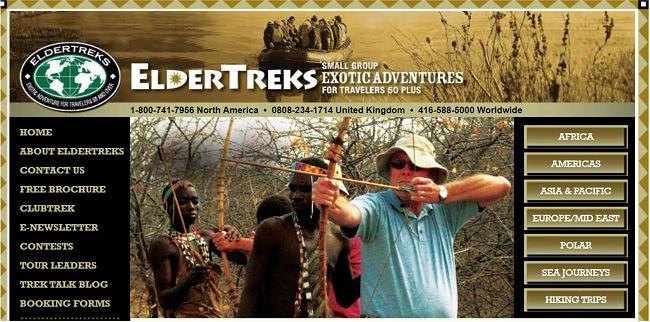 Скриншот главной страницы Eldertreks