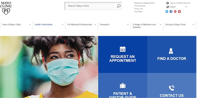 Скриншот сайта клиники Мэйо