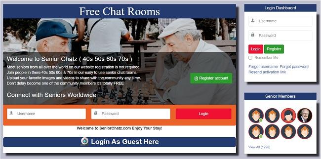 Скриншот главной страницы SeniorChatz