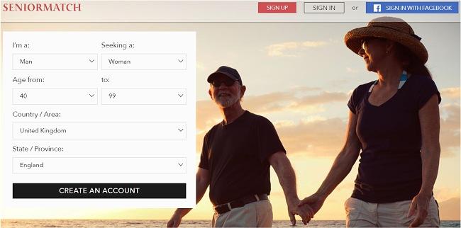 Скриншот главной страницы SeniorMatch