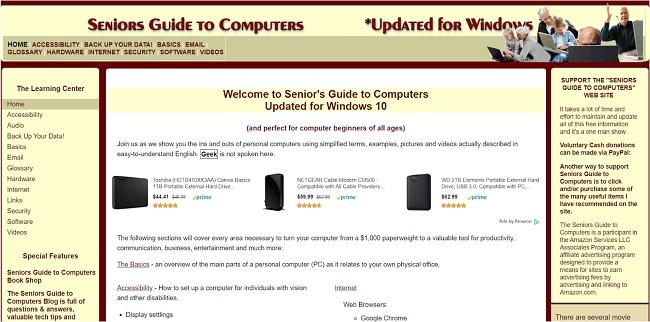 Скриншот веб-сайта Seniors Guide to Computers
