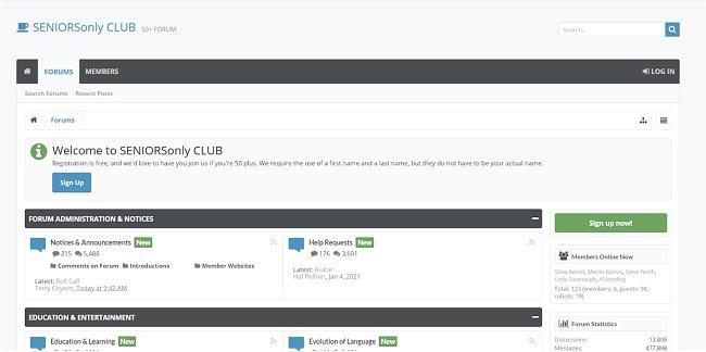 Скриншот форума Seniors Only Club