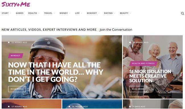Скриншот главной страницы Sixty + me