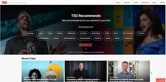 Скриншот главной страницы TED