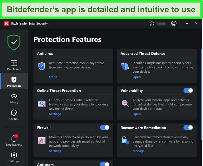 Screenshot of Bitdefender's Windows app interface.