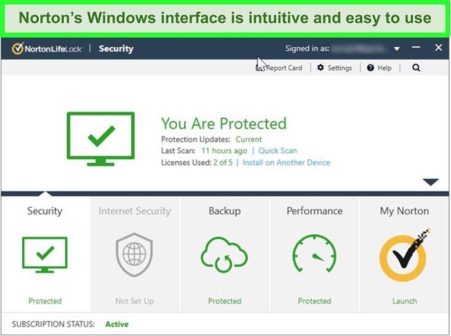 Norton 360 Windows interface