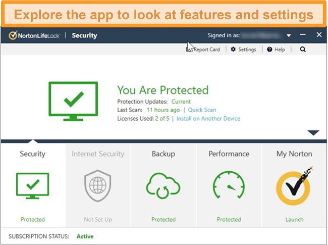 Screenshot of Norton 360 app dashboard for Windows.