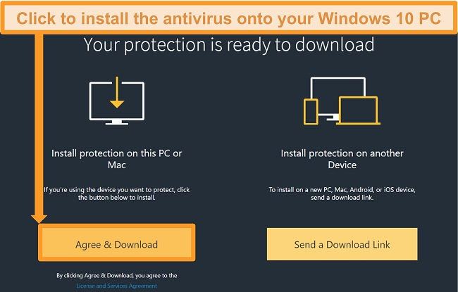Screenshot of download link for Norton 360.