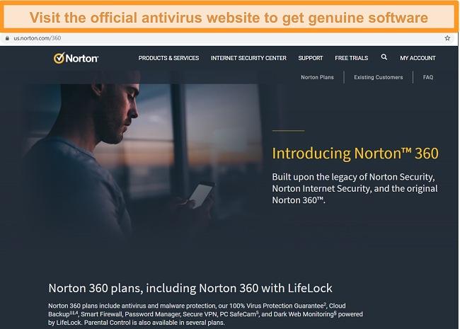 Screenshot of Norton 360 website homepage.