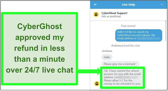Screenshot of a user successfully requesting a refund from CyberGhost over live chat with the 30-day money-back guarantee