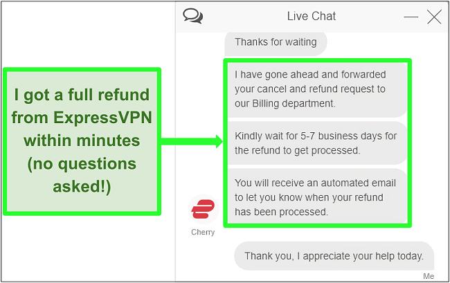 Screenshot of a user successfully requesting a refund from ExpressVPN over live chat with the 30-day money-back guarantee
