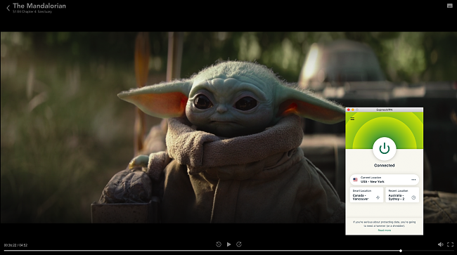 Screenshot of ExpressVPN connected to a US New York server and unblocking The Mandalorian on Disney+
