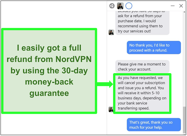 Screenshot of a user successfully requesting a refund from NordVPN over live chat with the 30-day money-back guarantee