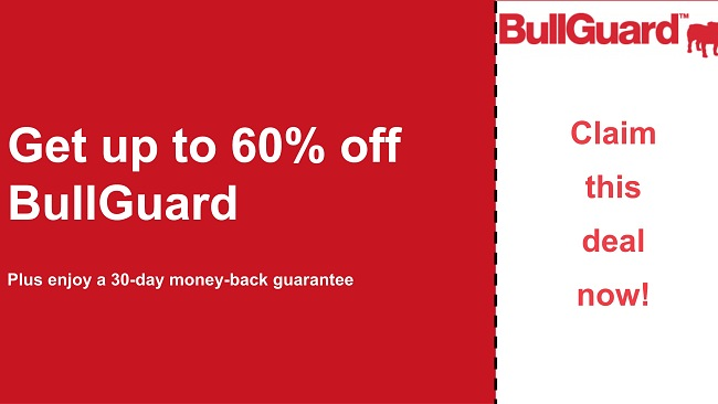 BullGuard antivirus coupon with 60% off and 30-day money-back guarantee