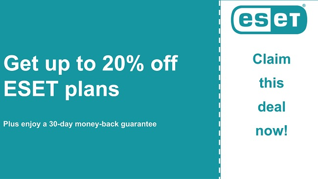 ESET antivirus coupon with 20% discount and 30-day money-back guarantee