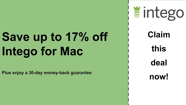 Intego antivirus coupon with 17% off and and 30-day money-back guarantee