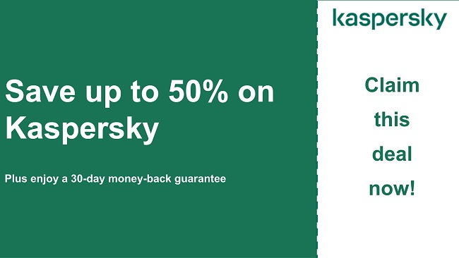 Kaspersky antivirus coupon with 50% discount and 30-day money-back guarantee