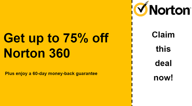 Norton antivirus coupon for up to 75% off all plans