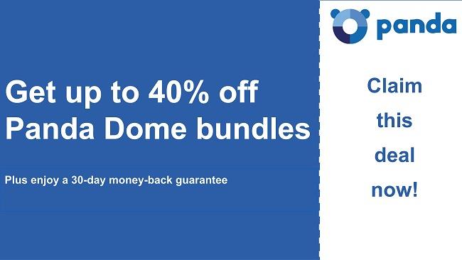 Panda antivirus coupon with 40% discount and 30-day money-back guarantee