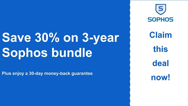 Sophos antivirus coupon with 30% discount and 30-day money-back guarantee