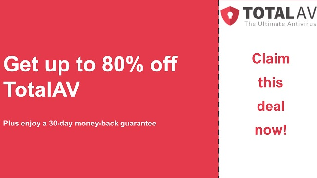 TotalAV antivirus coupon with up to 80% off and 30-day money-back guarantee