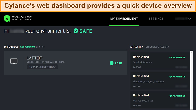 Screenshot of Cylance's web-based dashboard displaying the current safety level of connected devices and which threats have been detected.
