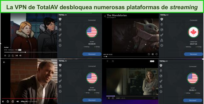 Captura de pantalla de Total AV VPN que desbloquea Hulu, Disney +, Netflix y HBO Max.