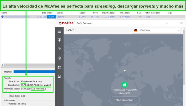 Captura de pantalla de McAfee VPN conectada a un servidor alemán mientras descargaba un archivo torrent de 35GB.