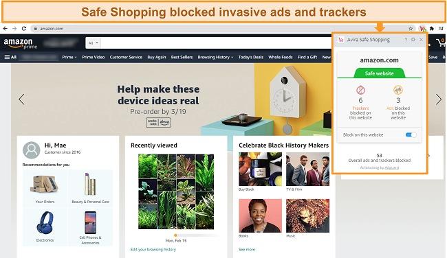 Screenshot of Avira's Safe Shopping browser extension on Google Chrome.