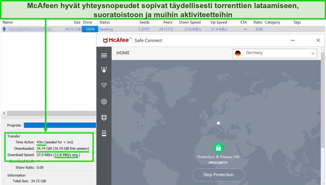 Näyttökuva McAfee VPN: stä, joka on yhdistetty saksalaiseen palvelimeen lataamalla 35 Gt: n torrent-tiedostoa.
