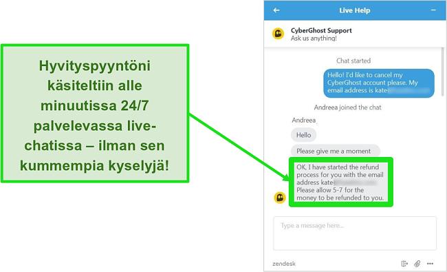 Näyttökuva käyttäjältä, joka pyytää onnistuneesti hyvitystä CyberGhostilta live-chatin kautta 30 päivän rahanpalautustakuun kanssa