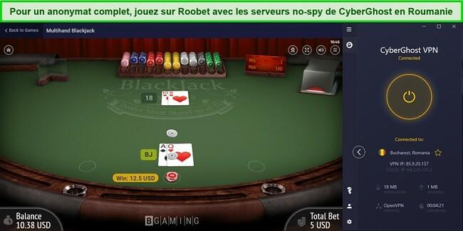 Capture d'écran du déblocage du Blackjack sur Roobet avec les serveurs No-Spy de CyberGhost en Roumanie