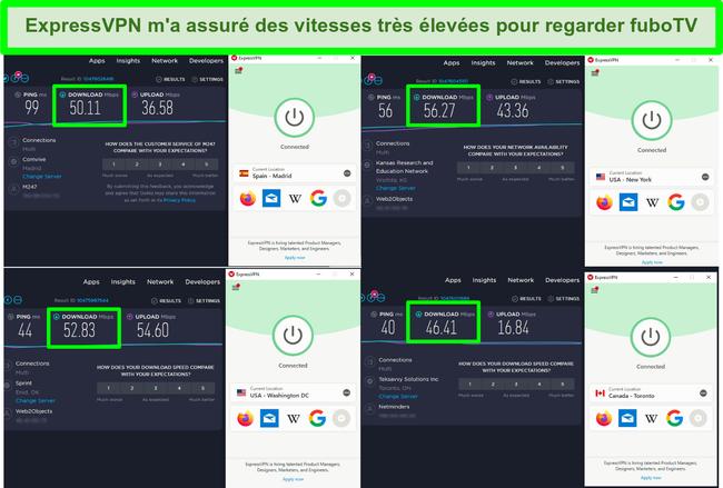 Capture d'écran de 4 tests de vitesse alors qu'ExpressVPN est connecté à des serveurs aux États-Unis, au Canada et en Espagne
