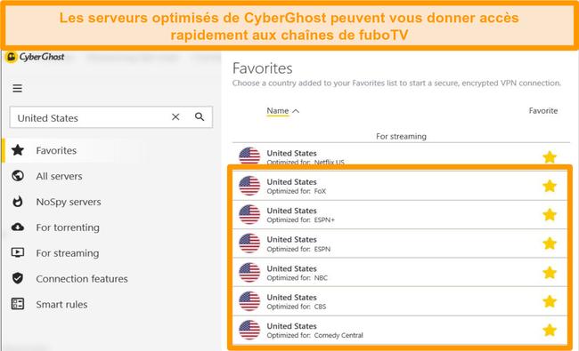 Capture d'écran des serveurs spécialisés CyberGhost pour la diffusion en continu des chaînes fuboTV