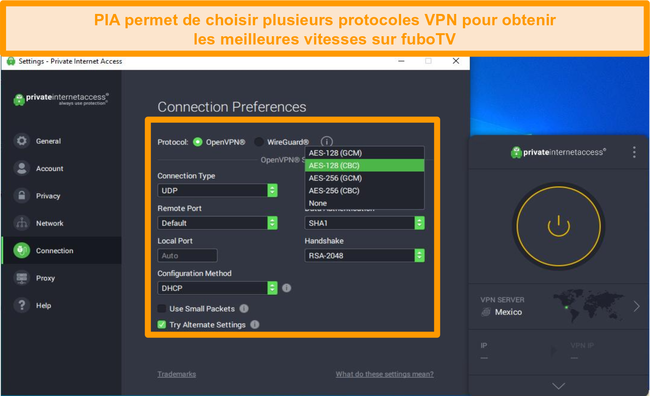 Capture d'écran de l'interface utilisateur de PIA montrant les protocoles VPN et d'autres options