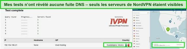 Screentest ne montrant aucune fuite lors d'un test de fuite DNS sur le serveur NordVPN au Mexique