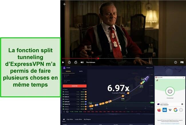Capture d'écran de L'Irlandais sur Netflix US et Roobet Crash sur le serveur d'ExpressVPN en Nouvelle-Zélande