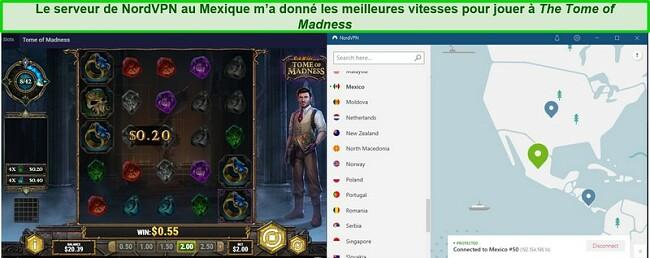 Capture d'écran du Tome of Madness joué sur le serveur de NordVPN au Mexique