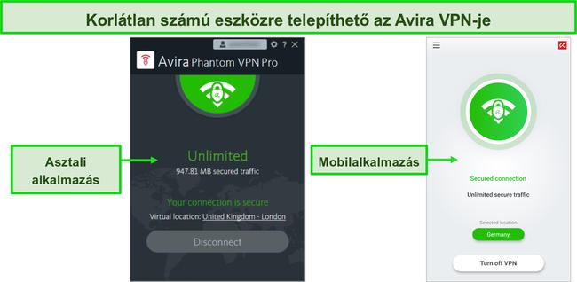 Pillanatkép az Avira Phantom VPN asztali és mobilalkalmazásokról.