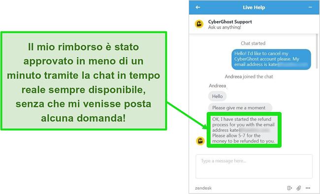 Schermata di un utente che richiede con successo un rimborso da CyberGhost tramite chat dal vivo con la garanzia di rimborso di 30 giorni