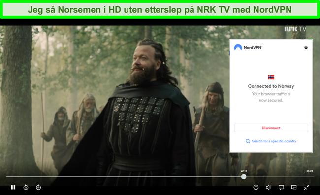 Skjermbilde av nordmenn på NRK TV med NordVPN tilkoblet