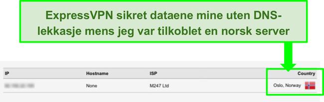 Skjermbilde av ExpressVPN DNS lekkasjetestresultater når den er koblet til norsk server