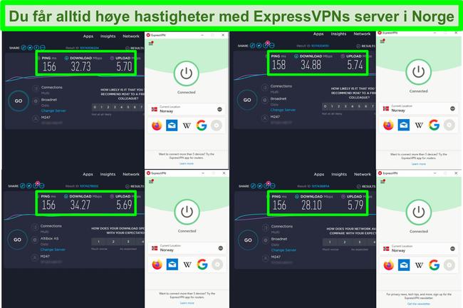 Skjermbilde av 4 hastighetstester mens ExpressVPN er koblet til en server i Norge