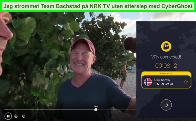 Skjermbilde av Team Bachstad som streamer på NRK TV med CyberGhost tilkoblet